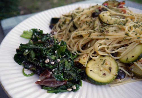 Garlicky Spaghetti with Zucchini and Greens from Pasta East to West (0020)