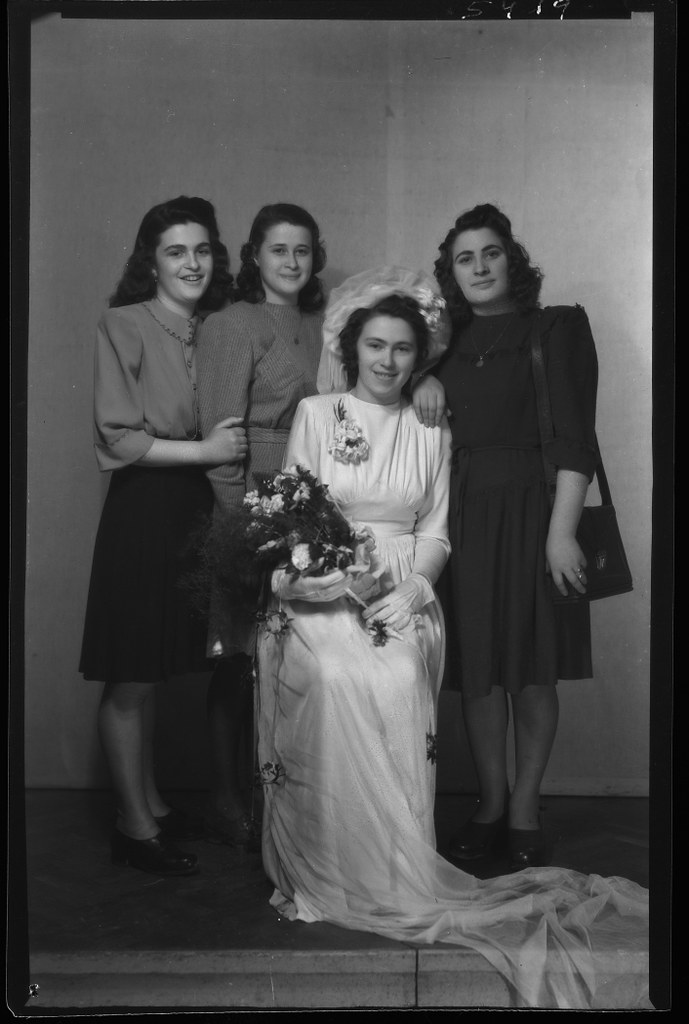 009---Studio bridal portrait of Sari or Sarah (Izsakne) Rosenfeld and her sisters Roji, Reghina,and Yolan