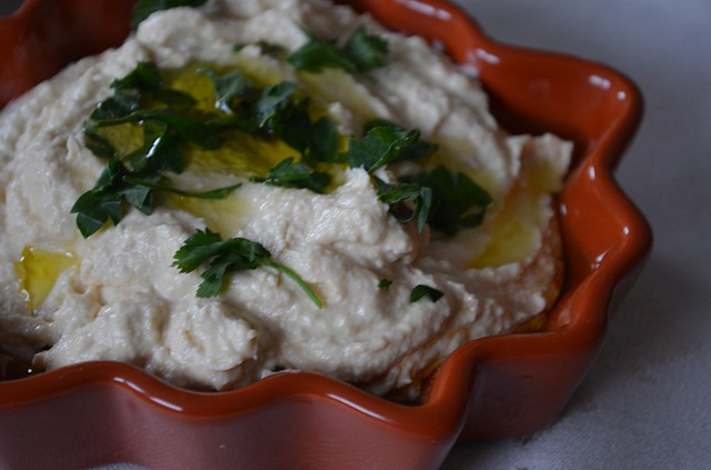 Hummus in Autumn Leaf plate