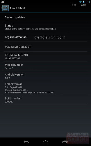 Update Google Nexus 7 To Android 4.1.2