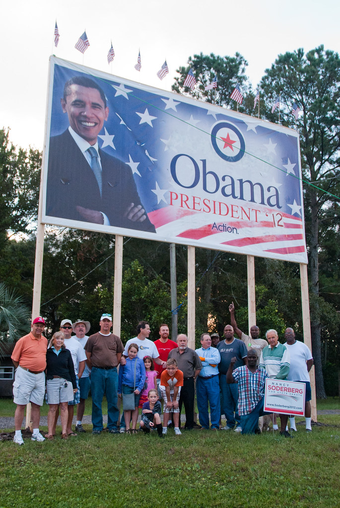 Nassau County Democrats Raise Obama Sign