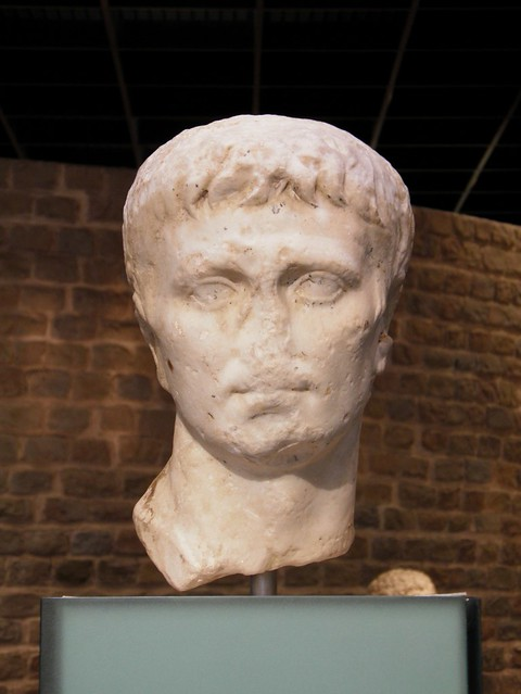 Over life-size portrait of Augutus, based on the Prima Porta portrait, an idealized depiction, 2/3 AD, Romisch-Germanisches Museum, Cologne