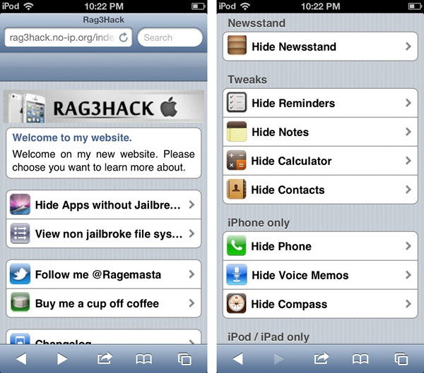 Ocultar aplicaciones nativas del iPhone (no Jailbreak)