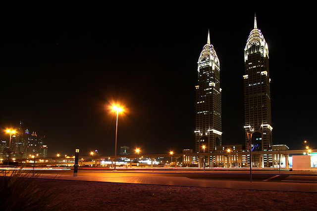Dubai Business Central Towers at night