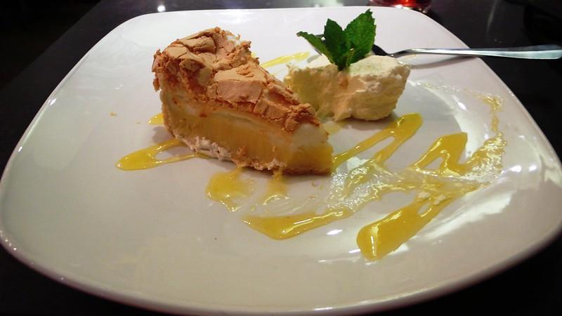 Lemon Meringue Pie and cream in the Toby Carvery, Romford
