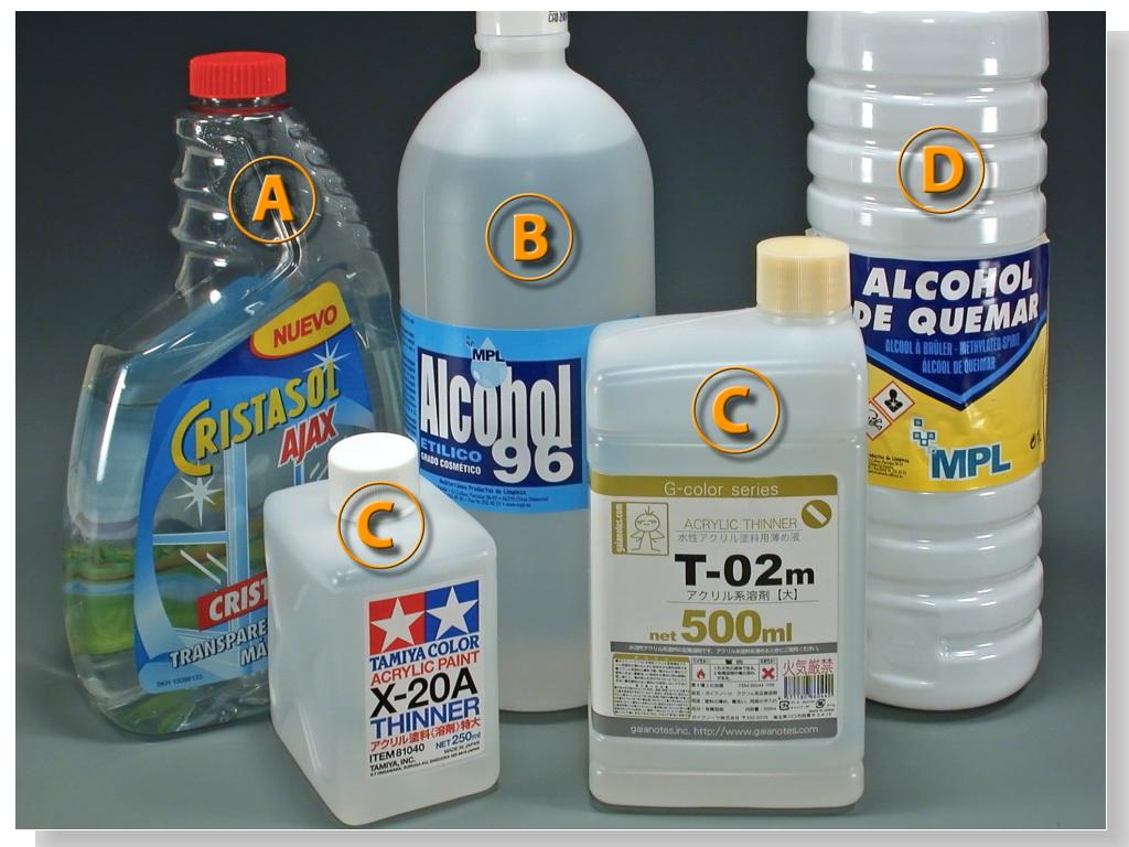 Escala espa ola los acr licos con aer grafo diluci n y - Usos del alcohol ...