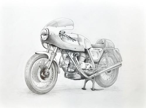 Ducati 750 Super Sport drawing by Colin Murdoch Studio