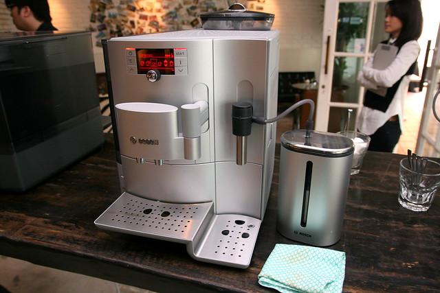 The Bosch silver VeroBar with separate milk container
