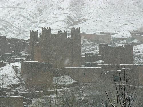 Nevando en el Valle del Dadès (Marruecos)