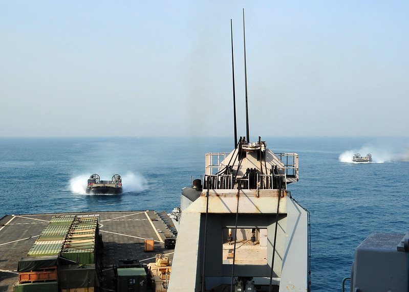 LCAC 45 approaches USS Rushmore