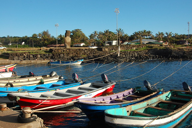 Boats in the Harbor at Hanga Roa