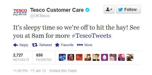 Tesco UK Twitter - Off To Hit The Hay