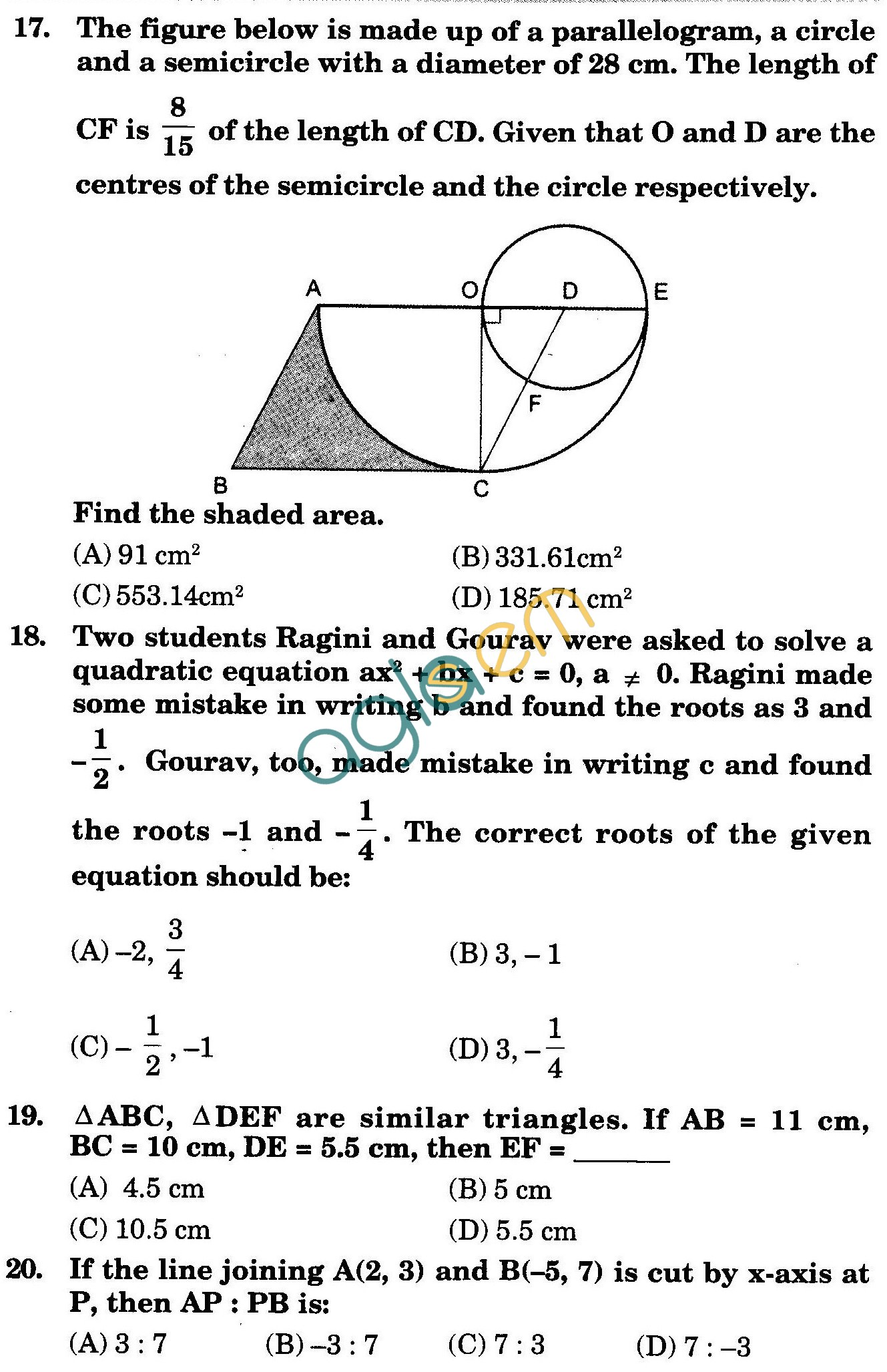 NSTSE 2010: Class X Question Paper with Answers - Mathematics
