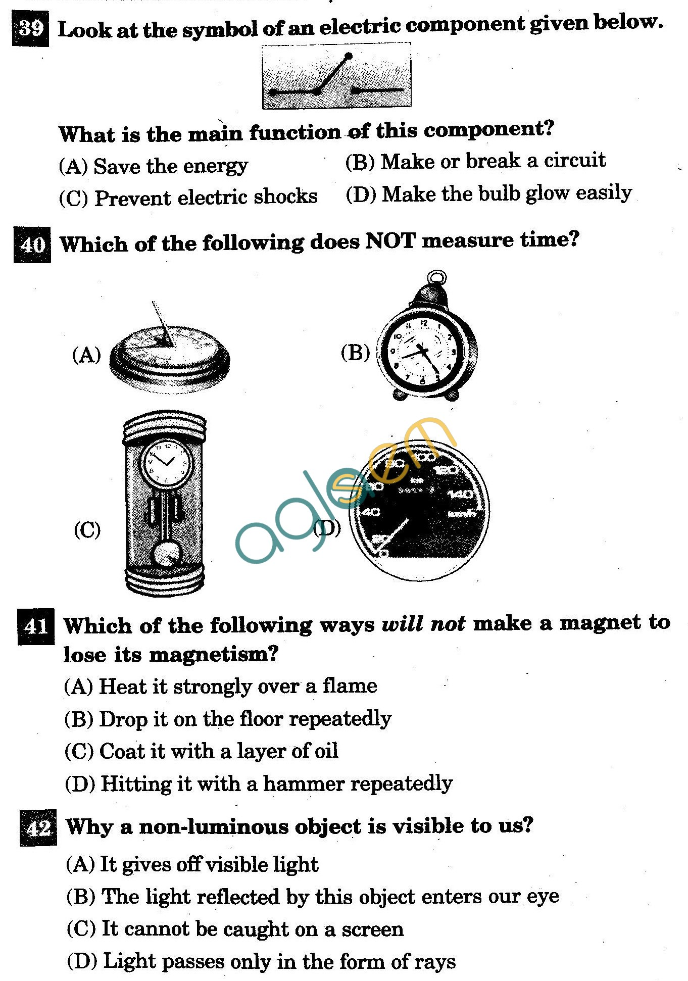 NSTSE 2011: Class VI Question Paper with Answers - Physics
