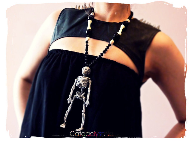 Silver Glitter Skeleton Necklace