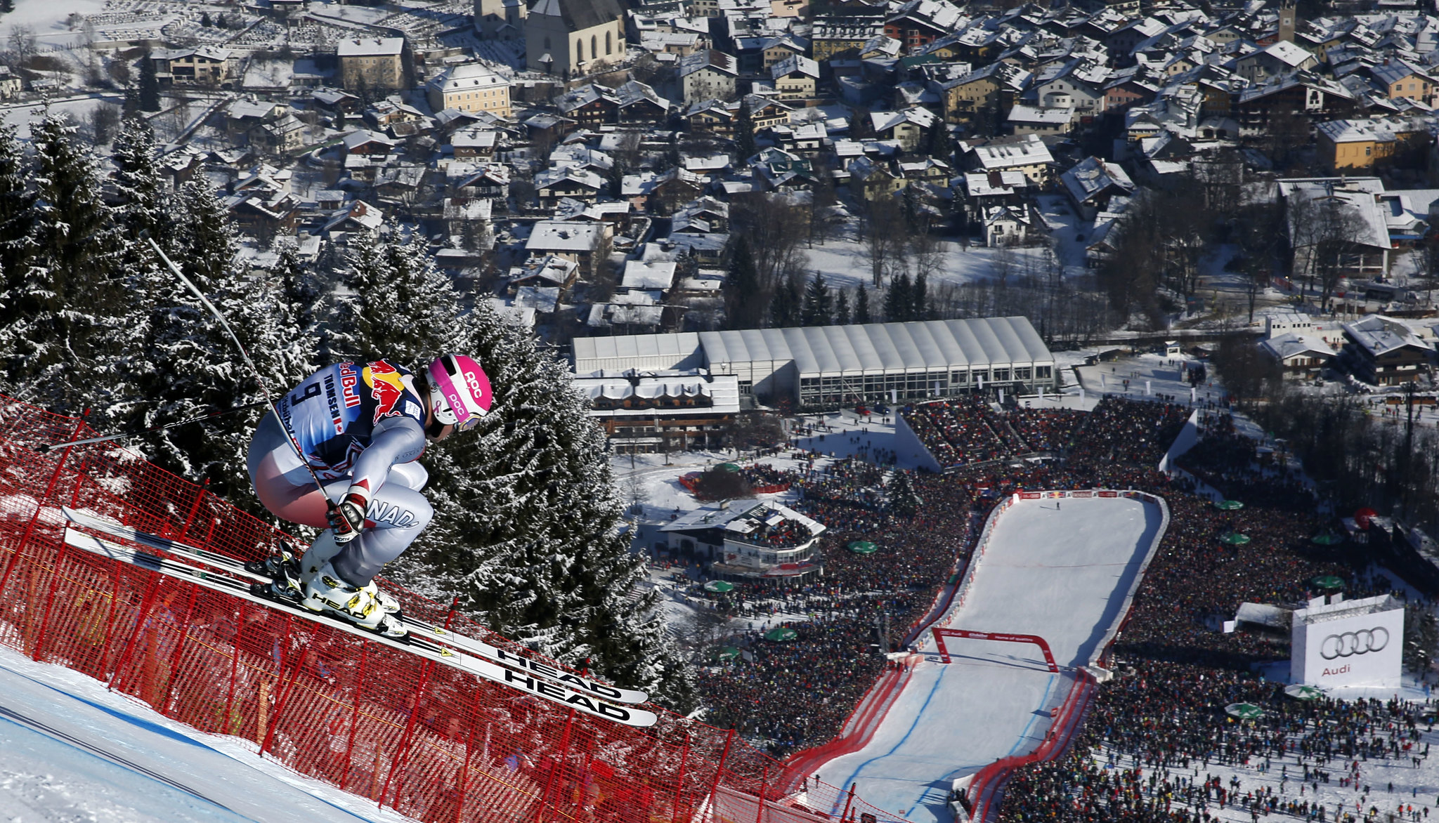 Young gun Ben Thomsen skis to a 17th-place finish in the demanding downhill in Kitzbühel, Austria.