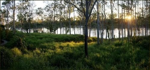 sunset panorama water river flood pano australia qld queensland