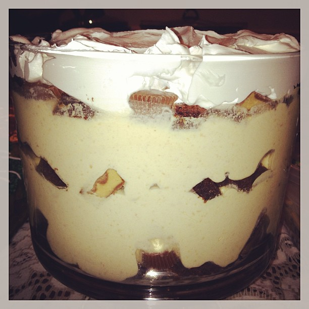 Peanut butter brownie trifle I made. Soooo yummy!!
