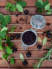 Spicy sweet cherry chutney with black pepper and r…