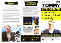 Vote Tommy for Depute Leader of the SNP leaflet, 2016