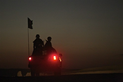 Soldiers from the 2nd Brigade, 215th Corps on patrol in Sangin, Helmand