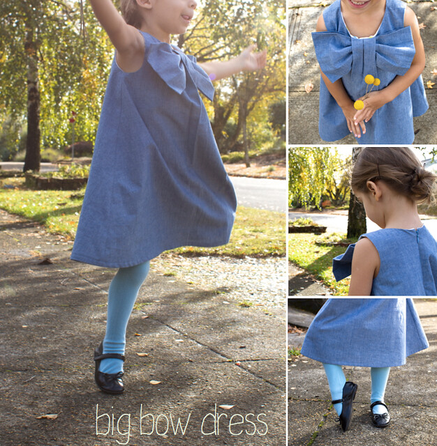 chambray big bow dress