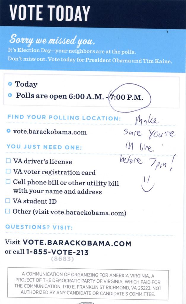 Election Literature - Nice GOTV Note on My Door | When I got… | Flickr