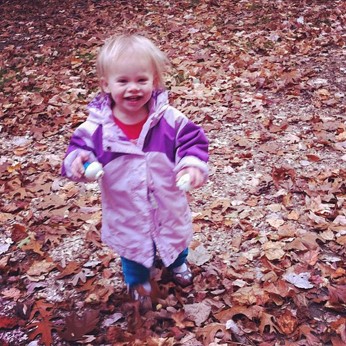 A little leaf crunching before daycare.