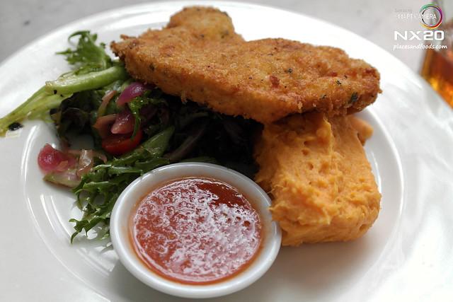 china house Parmesan Crumbled Chicken Schnitzel, Sweet Potato Mash and Rocket Salad