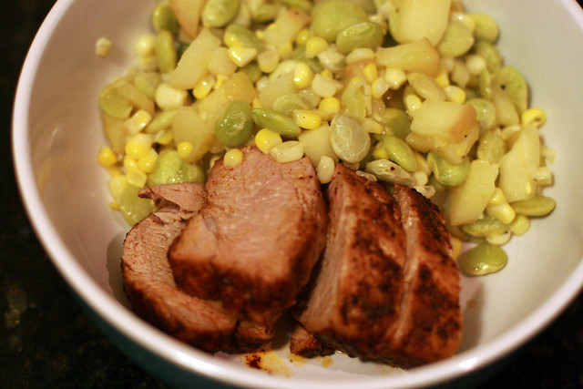 Pork Tenderloin with Apple Succotash