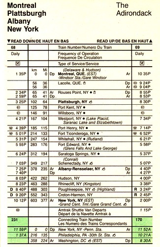 Amtrak Adirondack 1985 Schedule