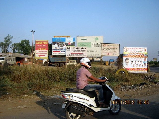 Boards on Old Mumbai Pune Highway at Kanhe