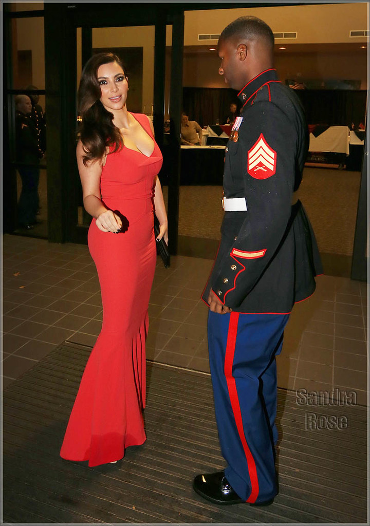 Kim Kardashian attends the Marine Corps Ball with Sgt Martin Gardner in Greenville, NC