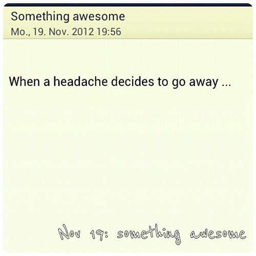 Nov 19: something awesome #awesome #fmsphotoaday #headache