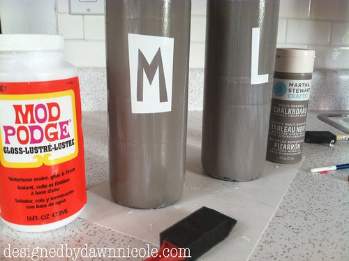 DIY Family Wine Bottle Art #chalkboard paint #modpodge