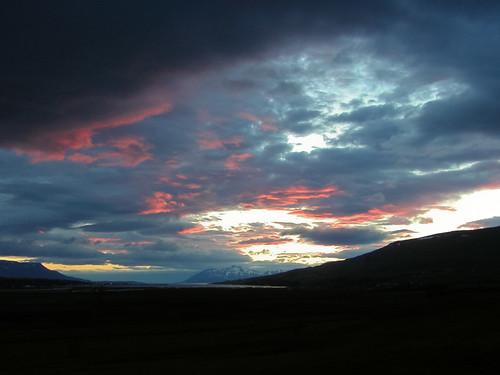 sunset sunrise iceland eyjafjörður