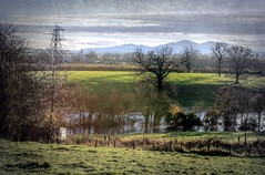 View of Malvern Hills over flooded Laugherne Brook Hallow, Worcester
