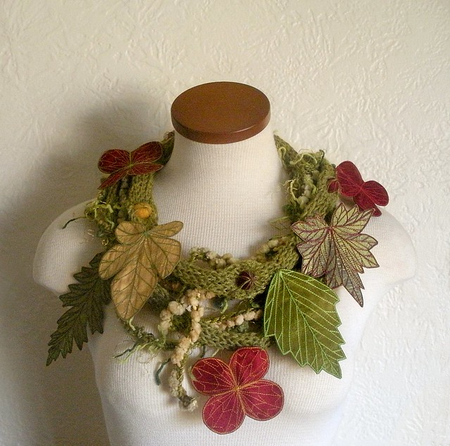 Avocado Green Leaf Scarf with Embroidered Leaves of Red, Yellow Gold, and Green