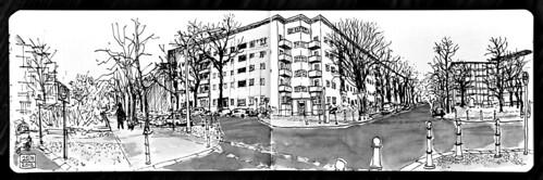 Residential neighbourhood intersection, Berlin