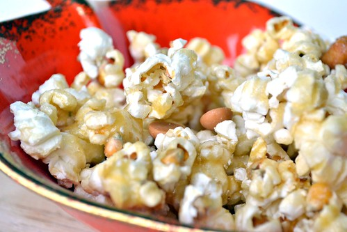 30 minute caramel corn with butterscotch chips and peanuts