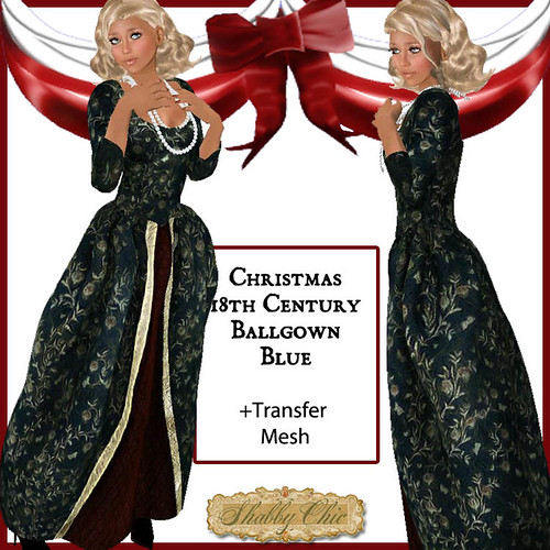 Shabby Chic Vintage 18th Centurty Christmas Ballgown - DARK GREEN by Shabby Chics