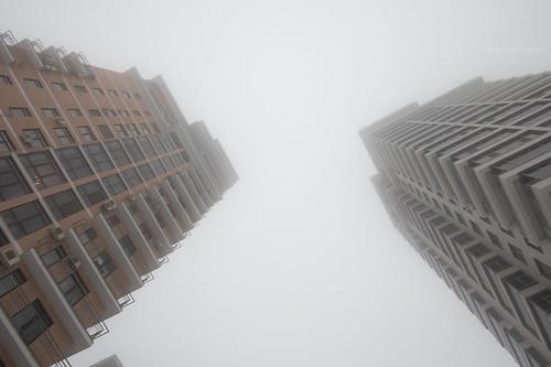 Fog and snow in Kazan