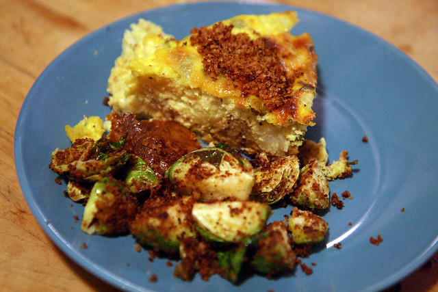 Cauliflower Quiche + Brussels Sprouts