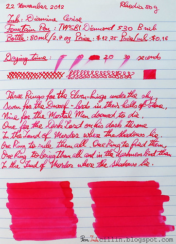 Diamine Cerise on Rhodia