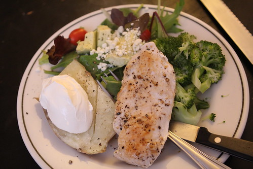 Pan-Seared Chicken, Baked Potato, Broccoli, and Salad