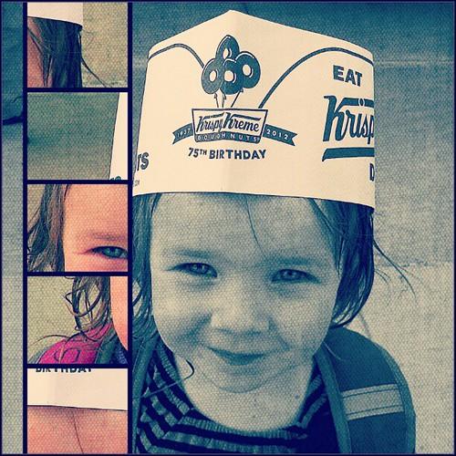Her friend Sravika brought her a Krispy Kreme hat!