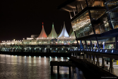 Vancouver waterfront at night