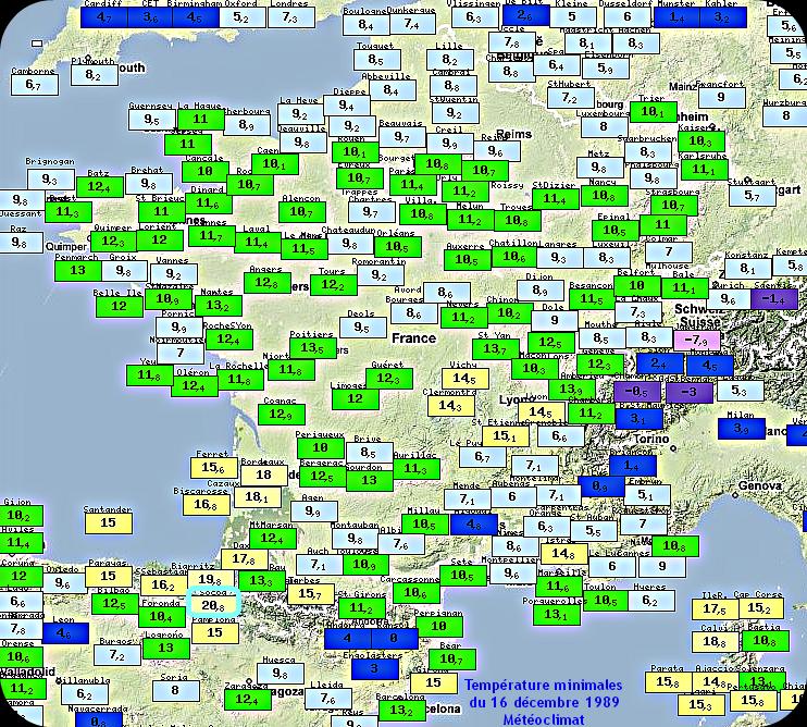 records de douceur des températures minimales du 16 décembre 1989 météopassion