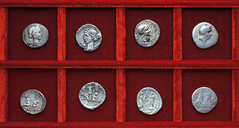 RRC 468 CAESAR Julius Caesar, RRC 469 CN.MAGNVS M.POBILICI Pompey, RRC 470 CN.MAGN M.MINAT SABIN Cnaeus Pompey Minatia, Ahala collection Republic