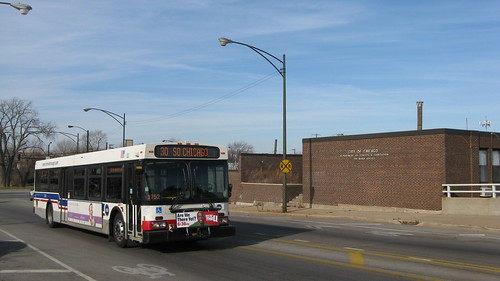 A Chicago Transit Authority bus approaching the East 92nd Street drawbridge.  Chicago Illinois.  Sunday, November 25th, 2012. by Eddie from Chicago